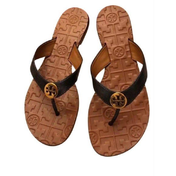 d1819d91944e5 ✨Tory Burch Thora Thong Sandals Color Black Gold